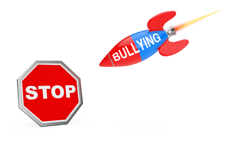 Stop Bullying Concept. Stop Sign Shield with Bullying Sign Rocket on a white background. 3d Rendering