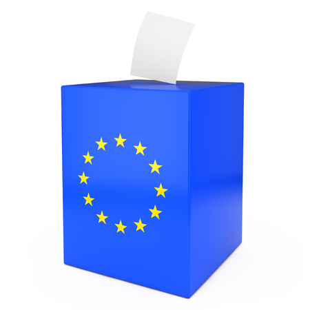 European Union Vote Concept. Vote Paper falls in to Vote Box with European Union Flag on a white background 3d Rendering