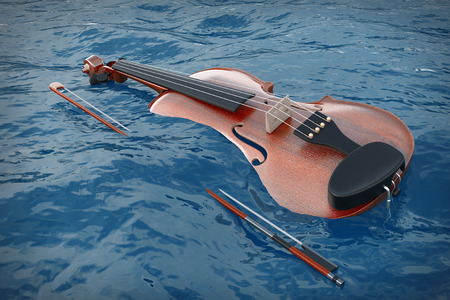 Classical Wooden Violin with Bow in Blue Ocean Waves extreme closeup. 3d Rendering
