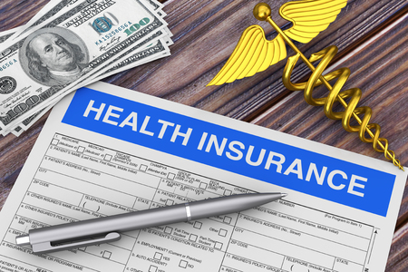 Writing Pen with Health Insurance Form near Gold Medical Caduceus Symbol and Money extreme closeup. 3d Rendering 写真素材