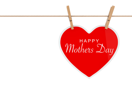 Red Paper Heart with Happy Mothers Day Sign Hanging on a Rope on a white background. 3d Rendering 写真素材