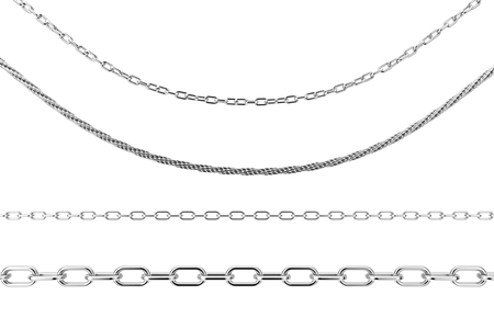 Set of Jewelry Silver Chains in Different Shapes on a white background. 3d Rendering