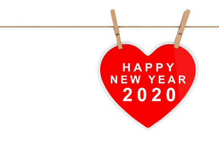 Red Paper Heart with Happy New 2020 Year Sign Hanging on a Rope on a white background. 3d Rendering