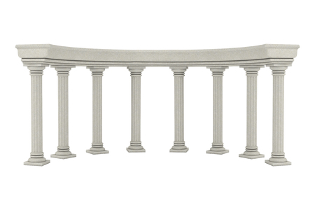 Ancient Classic Greek Column Arc on a white background. 3d Rendering