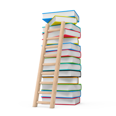 Education Concept. Wooden Ladder with Stack of Coloured School Books on a white background 3d Rendering Stockfoto
