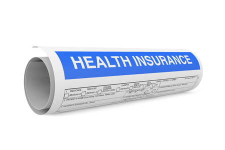 Health Insurance Form Wraped in Roll on a white backgrond.. 3d Rendering