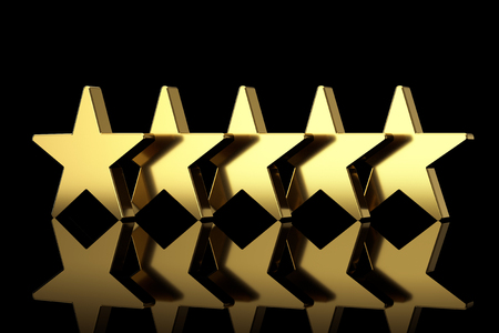 Five Golden Stars with Reflections on a black background. 3d Rendering Banque d'images - 121850877