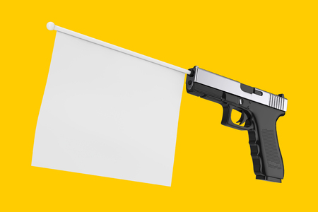 White Blank Flag for Your Design Comming Out from Modern Gun on a yellow background 3d Rendering