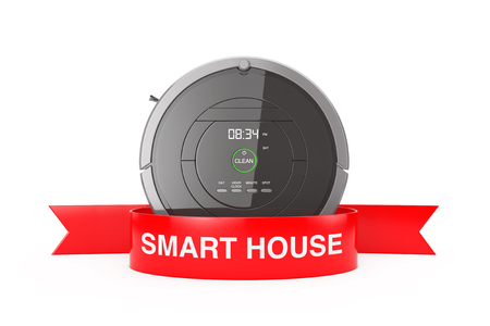 New Cleaning Technology Concept. Smart Robotic Vacuum Cleaner with Red Ribbon Smart House Sign on a white background 3d Rendering