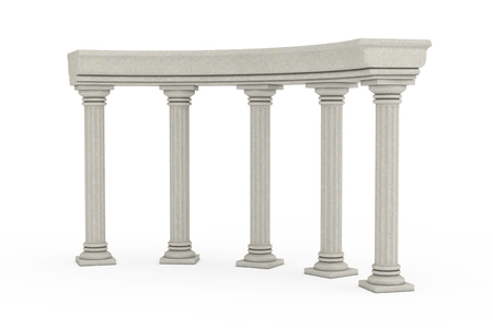 Ancient Classic Greek Column Arc on a white background. 3d Rendering Reklamní fotografie - 121851088