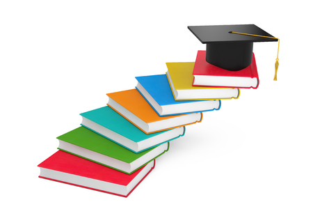 Graduation Academic Cap over Books as Steps Ladder on a white background. 3d Rendering
