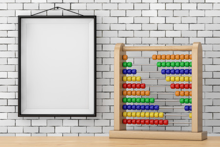 Toy Abacus with Rainbow Colored Beads in front of Brick Wall with Blank Frame extreme closeup. 3d Rendering Reklamní fotografie