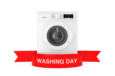 Modern Washing Machine with Red Ribbon Washing Day Sign on a white background 3d Rendering