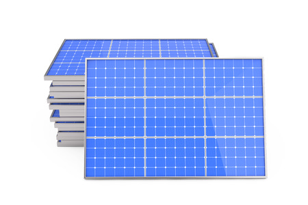 Stack of Photovoltaic Solar Panels on a white background. 3d Rendering