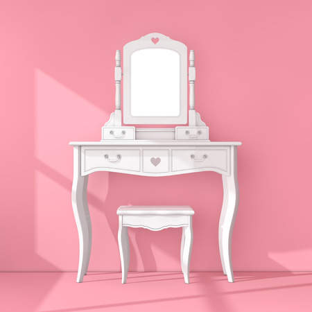 Antique Bedroom Vanity Table with Stool and Mirror in Pink Room extreme closeup. 3d Rendering Stock Photo