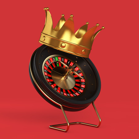 Golden Crown over Black Casino Roulette Wheel on a red background 3d Rendering
