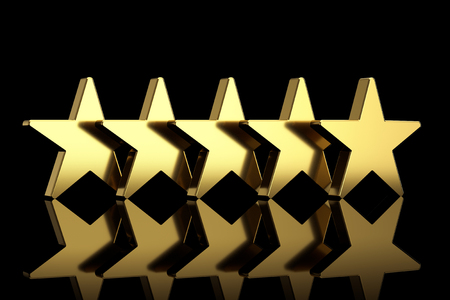 Five Golden Stars with Reflections on a black background. 3d Rendering Banque d'images - 121851633