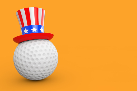 USA Golf Concept. Golf Ball with USA Hat on a yellow background 3d Rendering