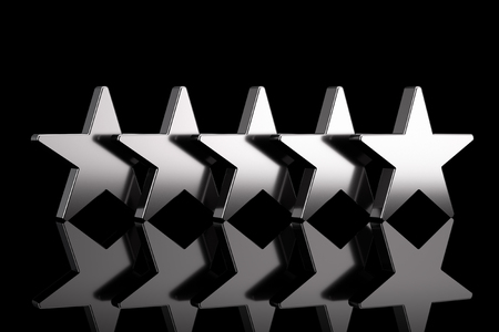 Five Silver Stars with Reflections on a black background. 3d Rendering