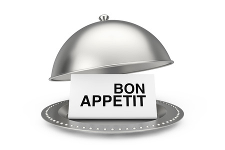 Paper with Bon Appetit Sign in Restaurant Cloche on a white background. 3d Rendering
