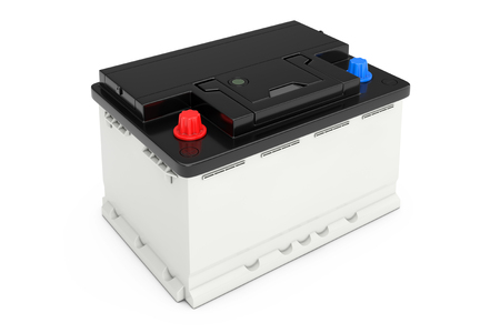 Rechargeable Car Battery on a white background. 3d Rendering