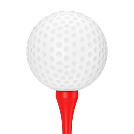 Een witte golfbal op rode tee op een witte achtergrond 3D-Rendering