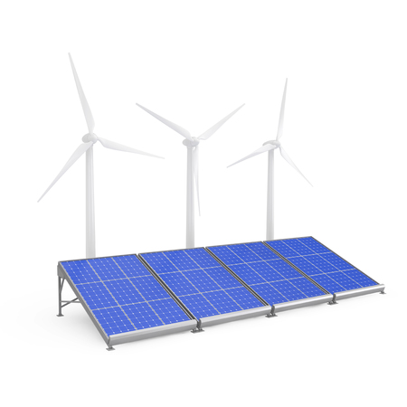 Solar Panels and Wind Turbines on a white background. 3d Rendering
