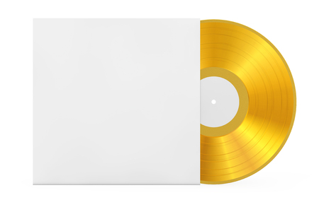 Golden Old Vinyl Record Disk in Blank Paper Case with Free Space for Your Design on a white background. 3d Rendering