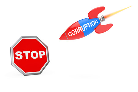Stop Corruption Concept. Stop Sign Shield with Corruption Sign Rocket on a white background. 3d Rendering
