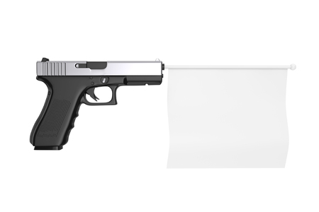 White Blank Flag for Your Design Comming Out from Modern Gun on a white background 3d Rendering