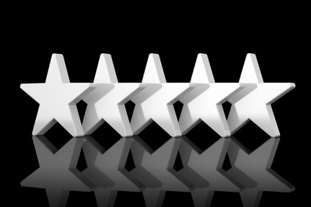 Five White Stars with Reflections in Clay Style on a black background. 3d Rendering