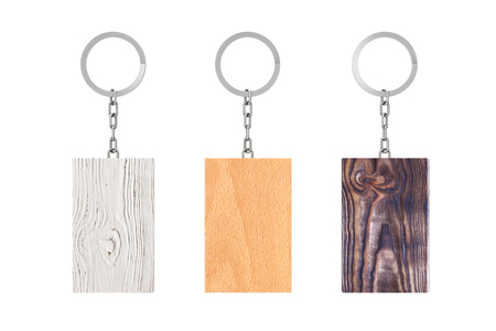 Set of Vintage Keychain with Wooden Plank and Empty Space for Your Design on a white background. 3d Rendering