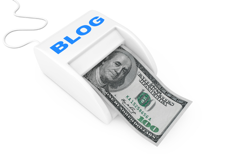 Make Money with Blog Concept. Money Maker Blog Machine with Dollars Banknote on a white background. 3d Rendering 스톡 콘텐츠