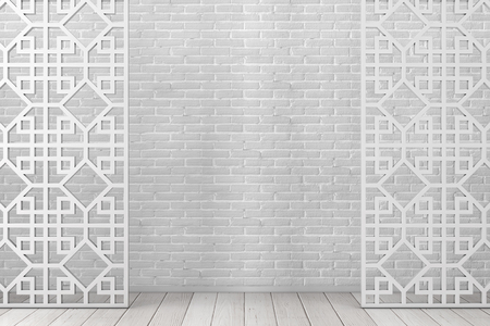 White Wooden Pattern Divider Screen in Arabic or Chinese Style in Front of Brick Wall. 3d Rendering Stock Photo