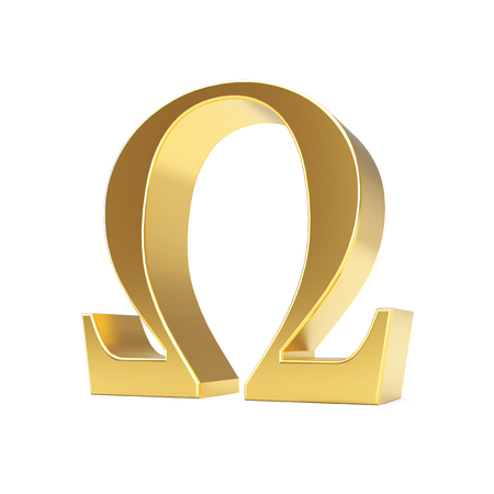 Golden Greek Omega Letter Symbol on a white background. 3d Rendering