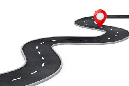 Winding Road with Destination Red Pin Target Pointer in the End of Road on a white background. 3d Rendering Reklamní fotografie