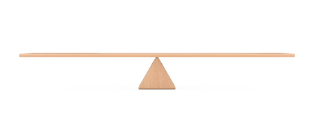 Balance Concept. Wooden Board Plank Balancing on a Wooden Triangle as Scale on a white background. 3d Rendering