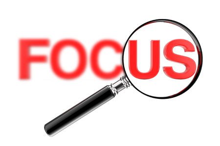 Magnifier Focused Glass Concept with Red Blurry Focus Sign on a white background. 3d Rendering 스톡 콘텐츠