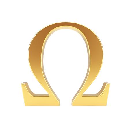 Golden Greek Omega Letter Symbol on a white background. 3d Rendering