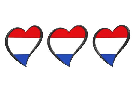 Netherlands Flag Inside Heart. Eurovision Song Contest 2020 in Holland on a white background. 3d Rendering