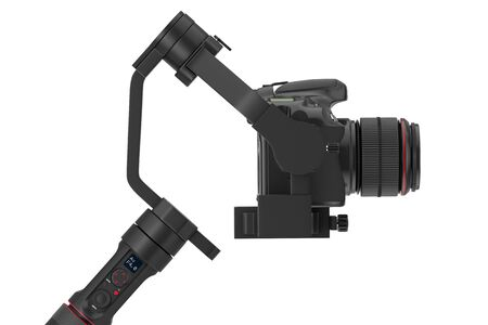 DSLR or Video Camera Gimbal Stabilization Tripod System on a white background. 3d Rendering