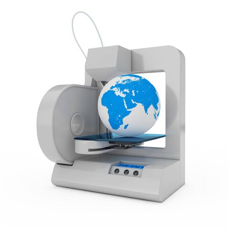 Modern Home 3d Printer Printing Earth Globe on a white background. 3d Rendering