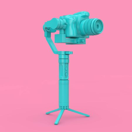 Blue DSLR or Video Camera Gimbal Stabilization Tripod System on a pink background. 3d Rendering