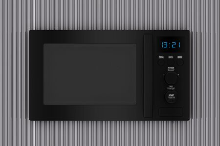 Modern Black Microwave Oven in front of Metal Chrome Wavy Background extreme closeup. 3d Rendering