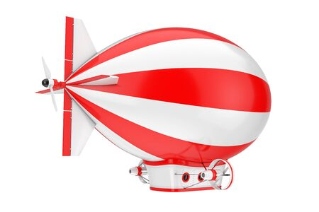Red and White Toy Cartoon Airship Dirigible Balloon on a white background. 3d Rendering