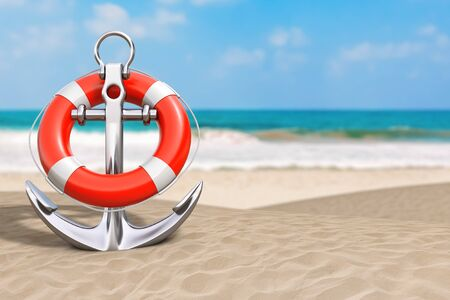Summer Vacation Concept. Silver Nautical Anchor with Lifebuoy on an Ocean Deserted Coast extreme closeup. 3d Rendering Reklamní fotografie