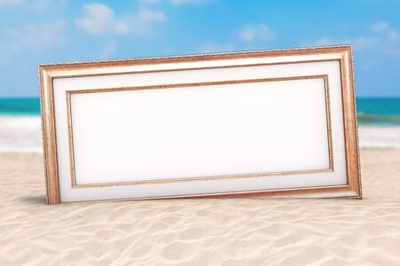 Summer Vacation Concept. Wooden Vintage Frame with Blank Space for Your Design on an Ocean Deserted Coast extreme closeup. 3d Rendering Stockfoto