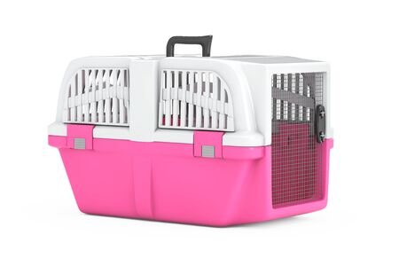 Pink Pet Travel Plastic Cage Carrier Box on a white background. 3d Rendering Фото со стока