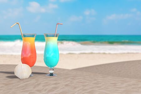 Summer Vacation Concept. Red and Blue Tropical Cocktails with Beauty Scallop Sea or Ocean Shell Seashell on an Ocean Deserted Coast extreme closeup. 3d Rendering Zdjęcie Seryjne - 129219100