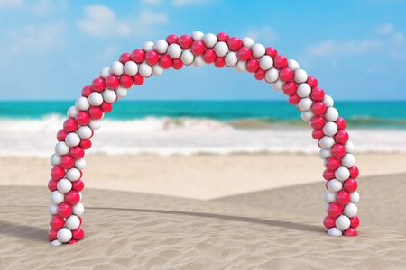 Summer Vacation Concept. White and Red Balloons in Shape of Arc, Gate or Portal on an Ocean Deserted Coast extreme closeup. 3d Rendering